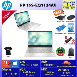 HP 15S-EQ1124AU/RYZEN 5/8 GB/SSD 512GB/15.6 FHD/VEGA/WIN10 + OFFICE 2019 HOME&STUDENT/BY TOP COMPUTER